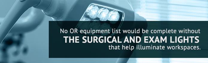surgical lights in the OR