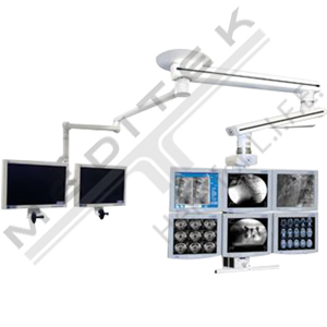 Skytron Tandem Mount Carrier Arms with Flatscreen